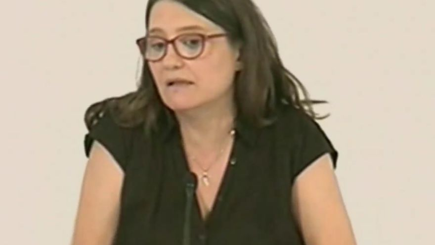 Mónica Oltra durante la rueda de prensa tras el pleno del Consell en Borriana.