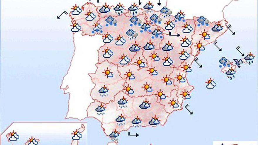 Mañana, chubascos y viento fuerte en Baleares, nevadas en el extremo norte