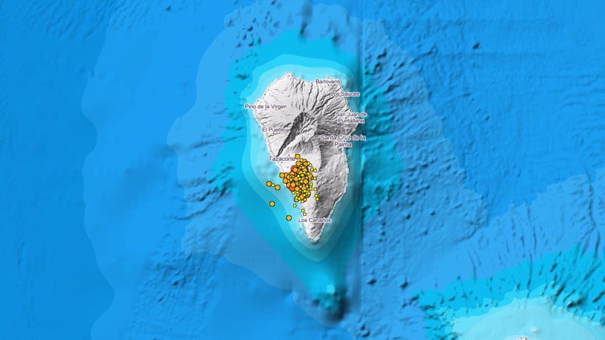 Mapa del enjambre sísmico en La Palma.