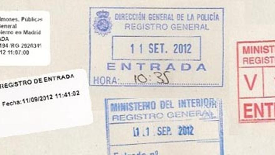 Sellos de entrada de la documentación entregada por el autor en los distintos registros oficiales