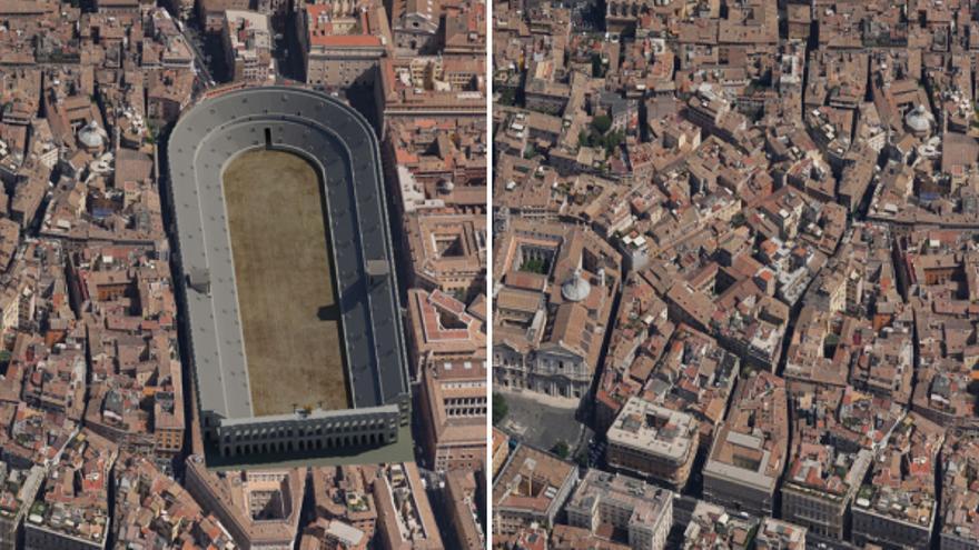 A la izquierda, una recreación del Estadio de Domiciano en Roma; a la derecha, la Piazza Navona, que mantiene exactamente la misma forma que el estadio