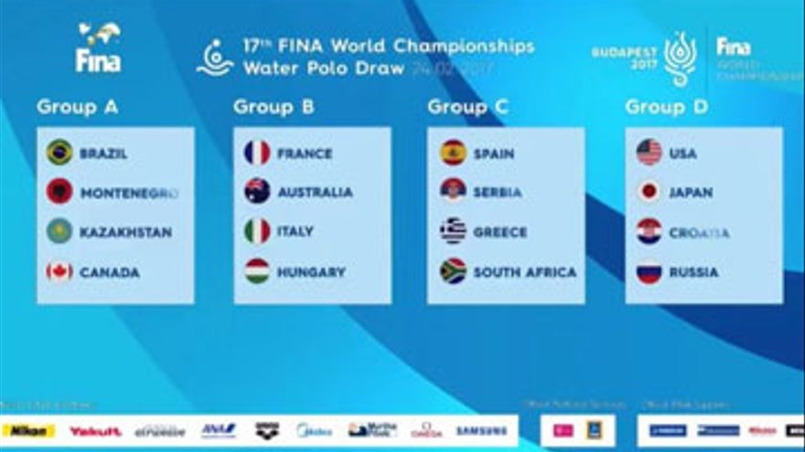El cuadro definitivo de la primera fase del Mundial de waterpolo de este año.