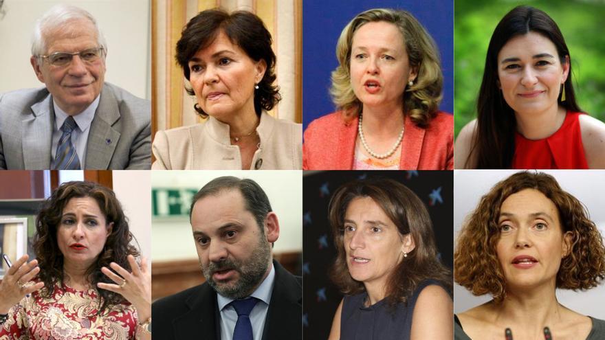 Los ocho ministros y ministras confirmados de Pedro Sánchez.