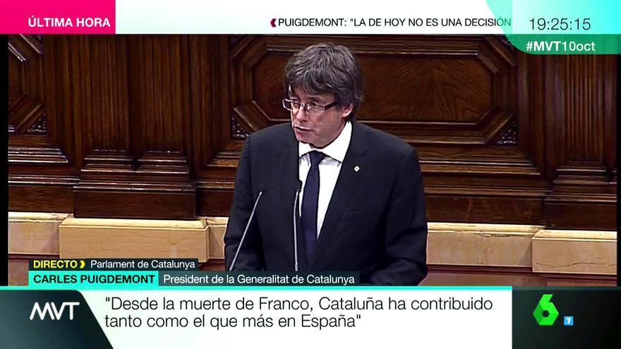 Emisión de 'Más vale tarde' durante la comparecencia de Puigdemont