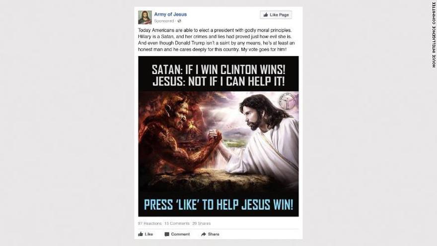 Anuncio publicado en Facebook pagado desde Rusia contra Clinton por las elecciones de EEUU.
