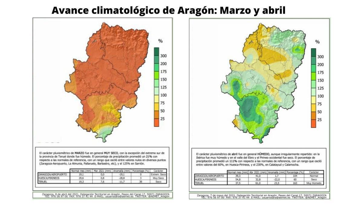Avance climatológico de Aragón: mazo y abril