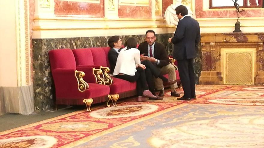Irene Montero (Unidos Podemos), Antonio Hernando (PSOE), Rafael Hernando (PP) y Miguel Ángel Gutierrez (Ciudadanos).