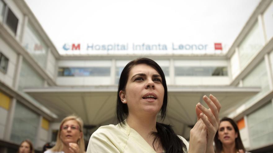 Concentración en el hospital Infanta Leonor por la sanidad pública durante la huelga del 7 de mayo en Madrid. / Olmo Rodríguez