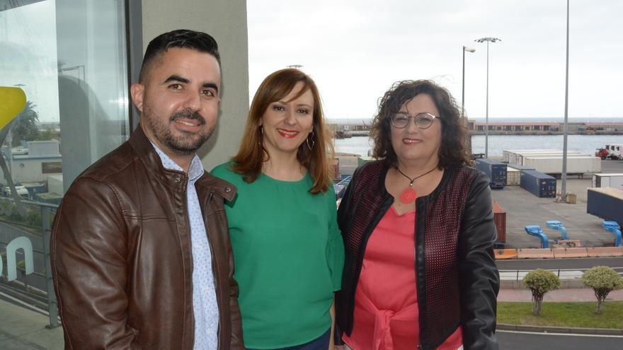 Onás Cruz, Lady Barreto y Guadalupe González este jueves.