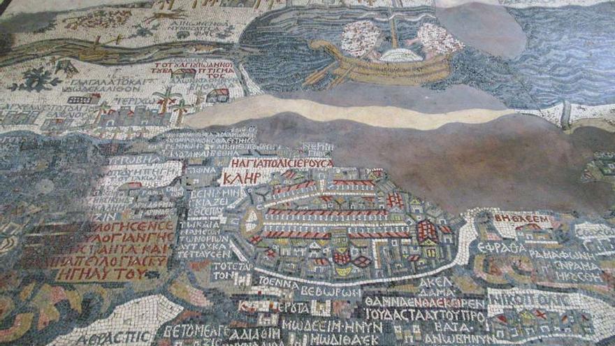 Detalle del famoso Mosaico de la Tierra Santa en Madaba. David Stanley (CC)