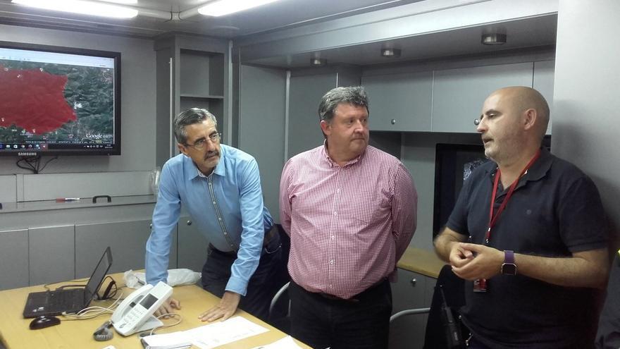 José María Ángel, director general de la Agencia de Seguridad y Respuesta a las Emergencias, en el Puesto de Mando Avanzado