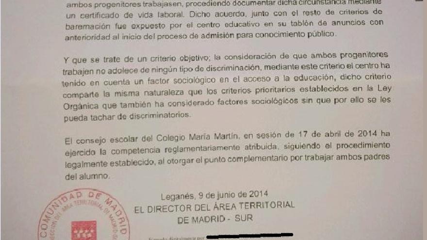 Carta de la Comunidad de Madrid sobre el punto preferente del colegio María Martín de Navalcarnero.