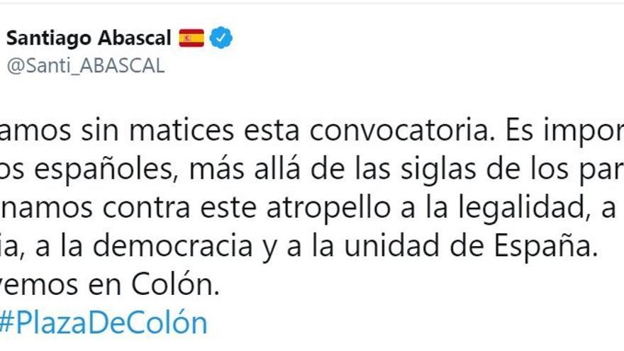 Tweet del presidente de Vox, Santiago Abascal, en apoyo a la concentración en contra de los indultos
