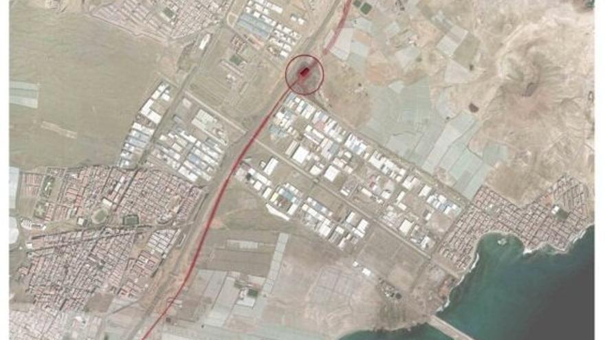 Vista satélite de la estación de Arinaga.   Ferrocarriles de Gran Canaria