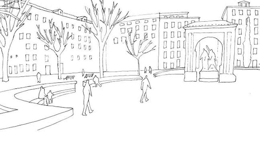 Ilustración de la Plaza del Dos de Mayo del libro | Improvistos
