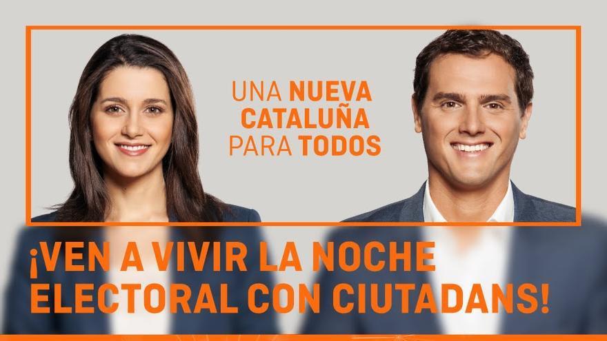 Cartel electoral de Ciudadanos con Inés Arrimadas junto a Albert Rivera para las elecciones del 27S de 2015.