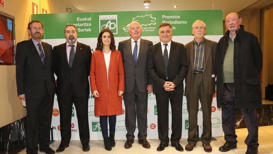 Ane Irazabal, Gervasio Sánchez, Mariano Ferrer, Iñaki Iriarte y Mikel Iturralde reciben el premio Periodismo Vasco