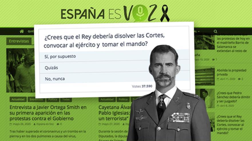 """Una web vinculada a Vox pregunta si """"el rey debería disolver las Cortes, convocar al Ejército y tomar el mando"""""""
