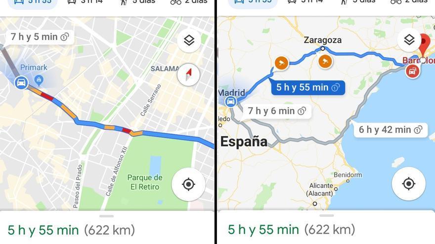 A la izquierda, Maps calculando el estado del tráfico. A la derecha, las distintas opciones de ruta y los radares