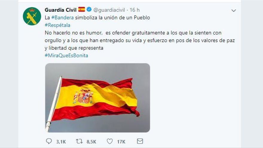 Captura de pantalla del tuit de la Guardia Civil