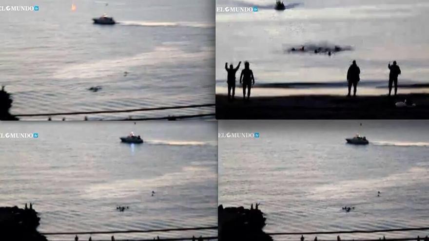 Planos de uno de los vídeos, difundido por elmundo.es, donde se ven los destellos de material antidisturbios utiizados desde la barca de la Guardia Civil. (Fotomontaje: Merche Negro)