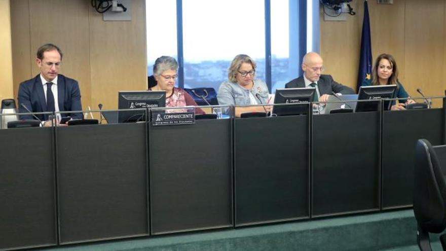Pilar Vera, como comparecente, durante su intervención en la sesión de la Comisión de Investigación sobre el accidente del vuelo JK5022 celebrada en el Congreso. EFE