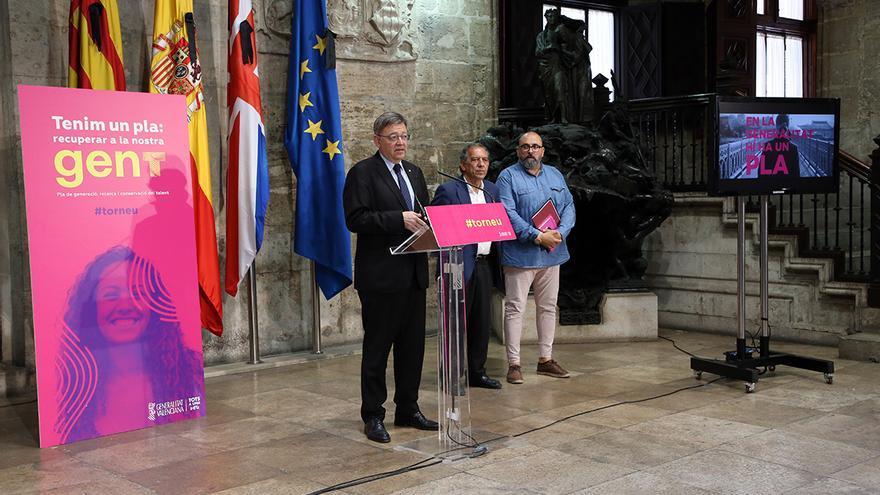 El presidente de la Generalitat, Ximo Puig, en la presentación del plan para frenar y revertir el éxilio de científicos jóvenes.