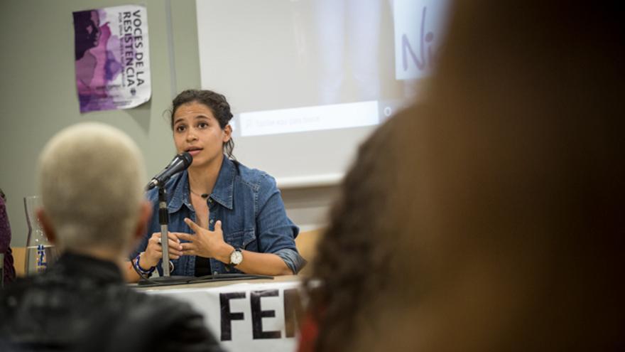 Amaya Coppens, durante su charla en Zaragoza.