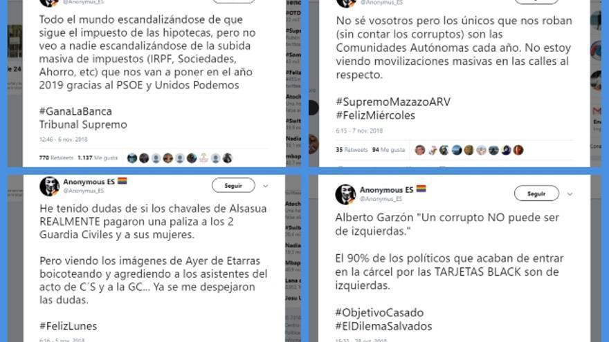 Recopilación de los últimos tuits de @anonimus_es, junto a su mensaje sobre #ElDilemaSalvados, el más retuiteado de la conversación.