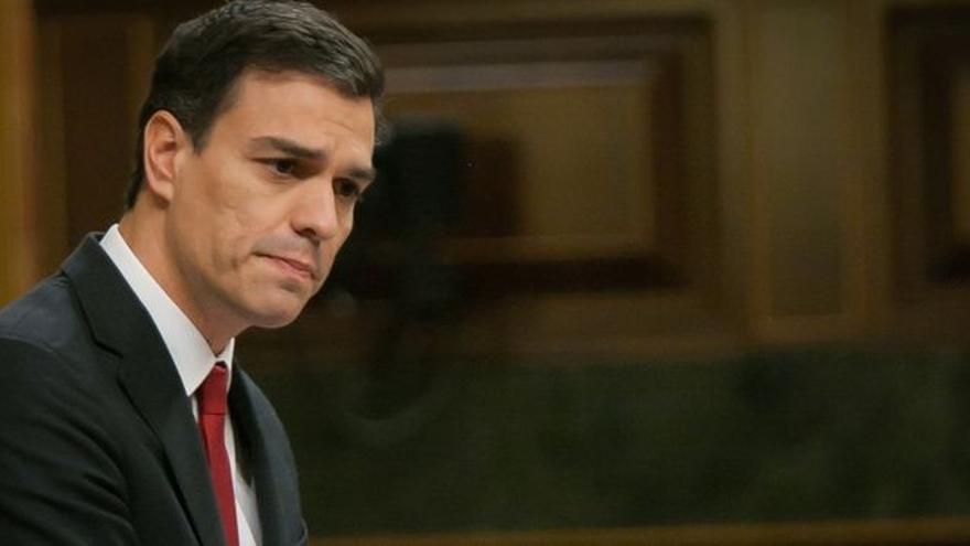 Pedro Sánchez durante el debate de investidura.