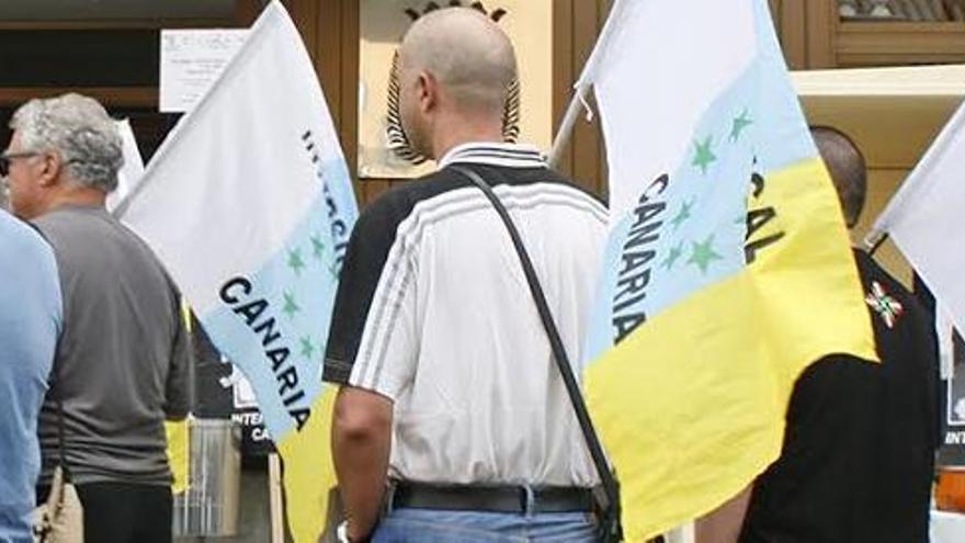 Protesta de afiliados de Intersindical Canaria.