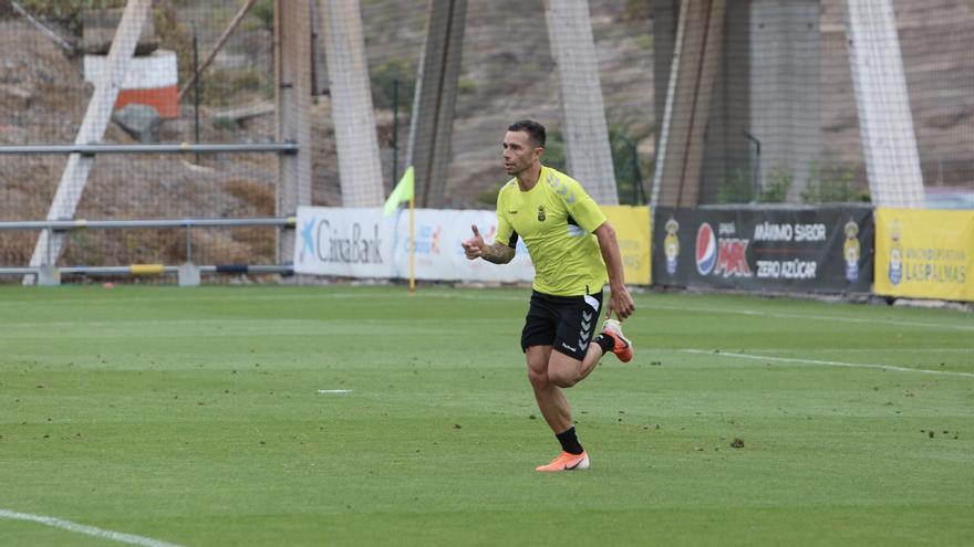 Rubén Castro, entrenando en Barranco Seco a comienzos de esta temporada.
