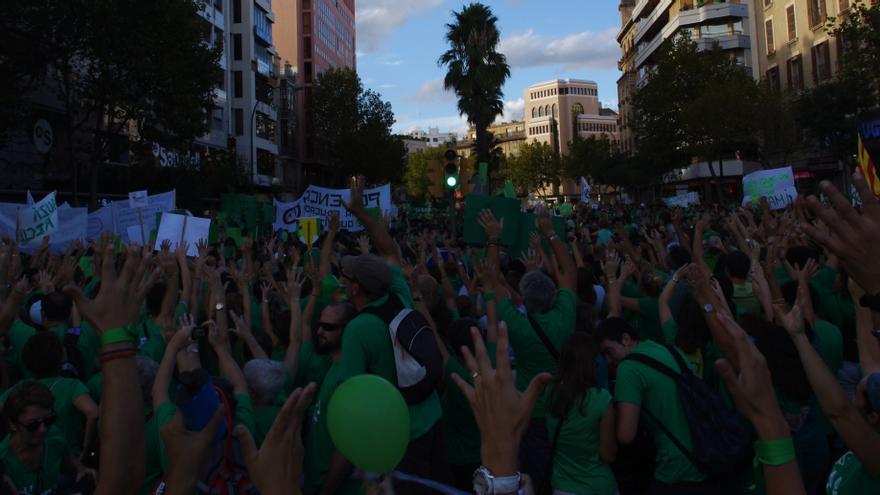 La manifestación de la 'marea verde' en Baleares ha acogido a miles de personas / J. M.