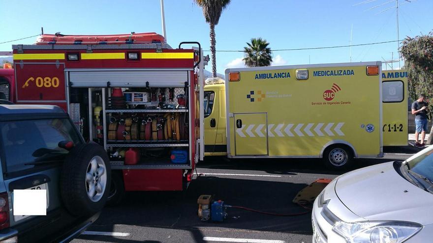 Zona donde se ha registrado el accidente en la Calle Tenisca de Los Llanos de Aridane. Foto: Bomberos La Palma.