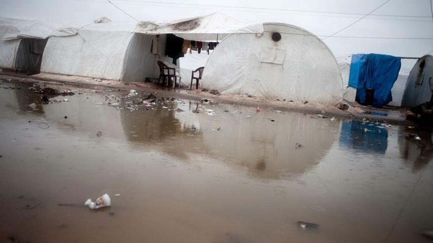 Un campamento de Azaz (Siria) inundado, en una imagen de 2013