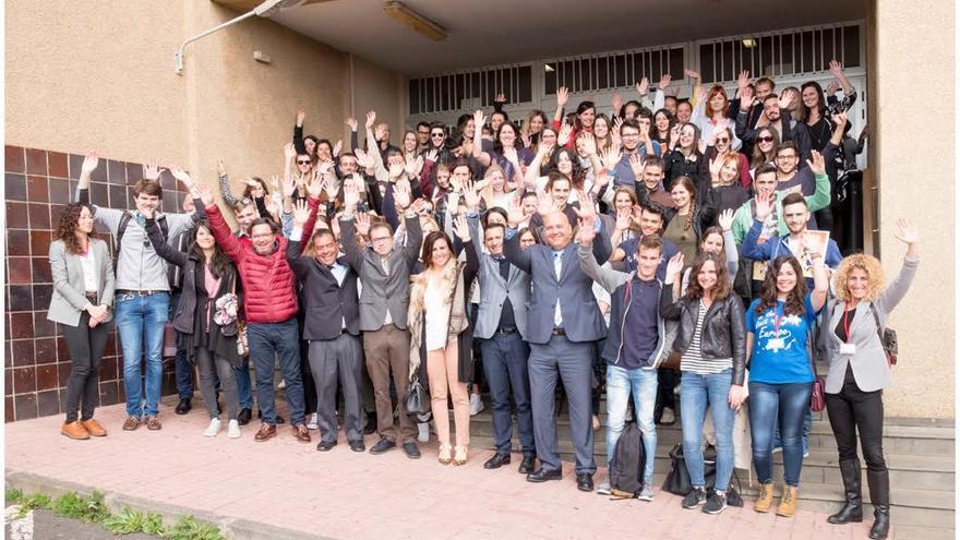 Los alumnos del programa Erasmus, durante el acto de bienvenida en la ULL