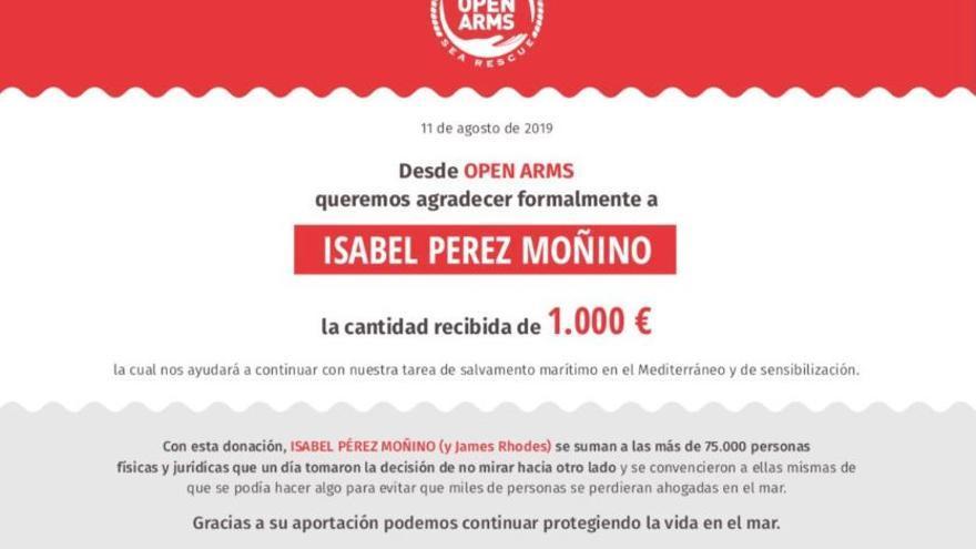 Diploma de James Rhodes con el nombre de Isabel Pérez Moñino, concejala de Vox