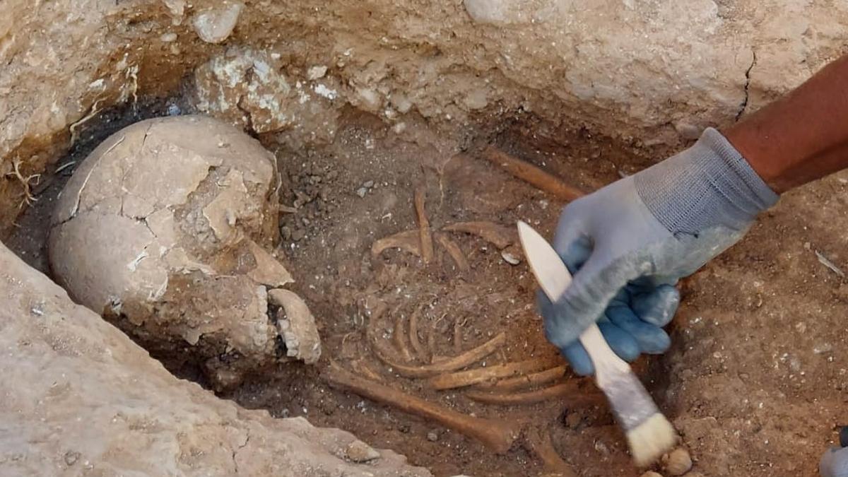 Imagen de uno de los esqueletos encontrados junto a la muralla islámica.