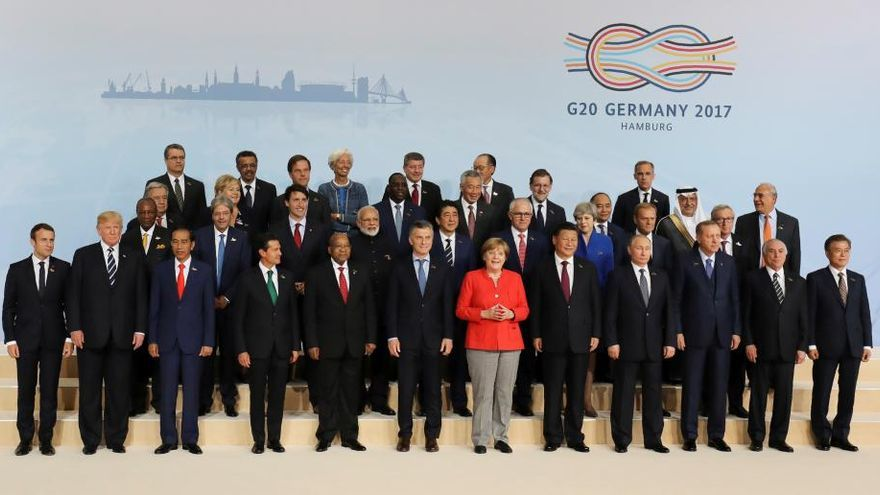 Líderes del G20 en la reunión de Hamburgo, Alemania, 2017