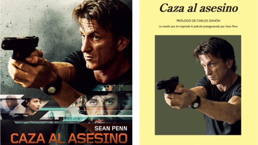 Cartel de la película y portada del libro 'Caza al asesino'
