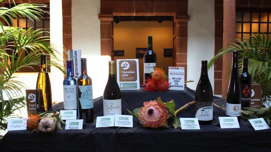 Imagen con botellas de los principales premios en 2018, conocidos este viernes en La Palma