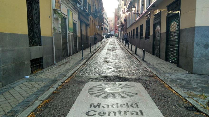 Uno de los accesos a Madrid Central, en el primer día de restricción del tráfico.