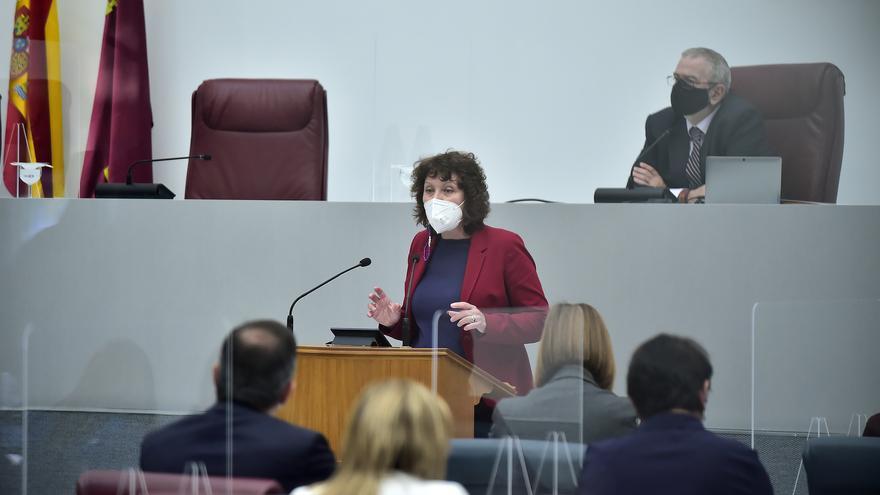María Marín (Podemos) interviene en la Asamblea regional en la primera jornada de debate de la moción de censura presenta por Cs y PSOE