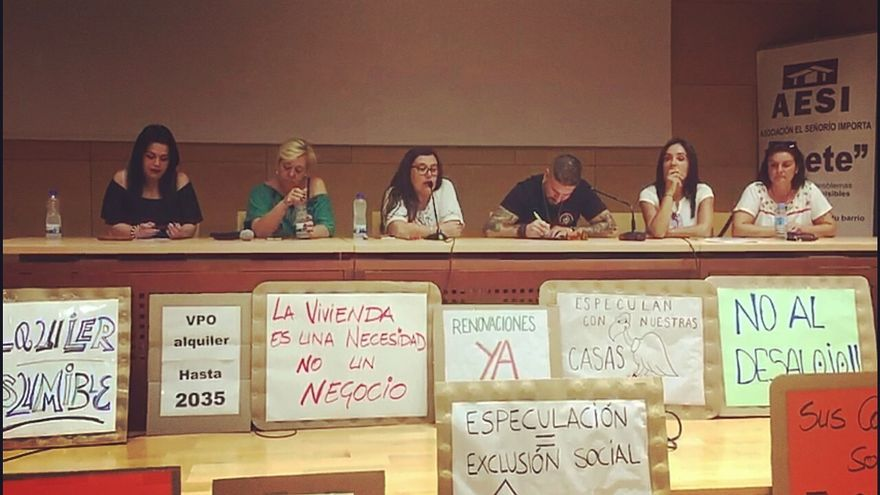 Imagen de la convocatoria en la que presentó la Plataforma de Afectados por desalojos en VPO del Señorio de Illescas