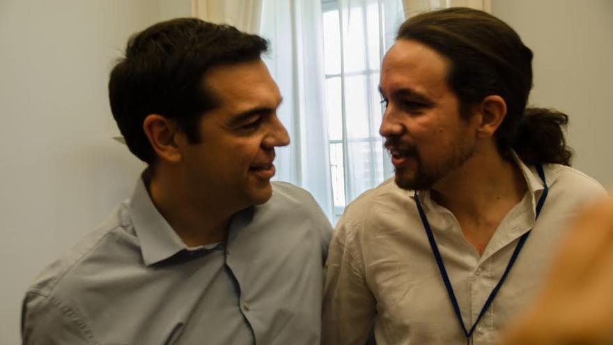 Alexis Tsipras y Pablo Iglesias en Atenas./Foto: Clara Palma Hermann
