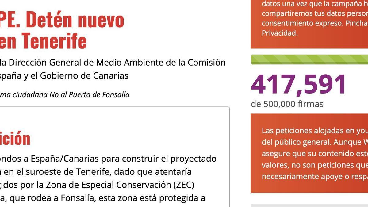 """En el texto de su petición, Ben Magec solicita la denegación de permisos y fondos para la construcción del puerto, pues, esgrime, """"atentaría"""" contra los valores protegidos por la Zona de Especial Conservación (ZEC) Franja Marina Teno-Rasca, que rodea a Fonsalía"""
