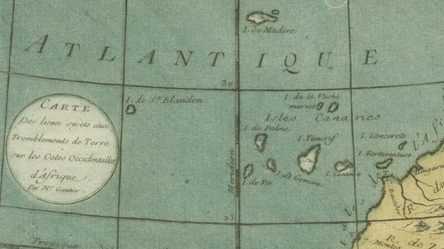 En la imagen, mapa realizado por Gautier D'Agoty en 1756 en el que se sitúa San Borondón.