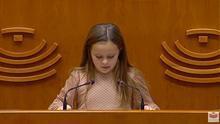 Elsa durante su discurso ante la Asamblea de Extremadura