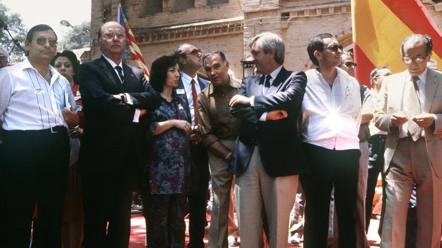 Ángel Sanchís, primero por la izquierda, en una foto de archivo. EFE