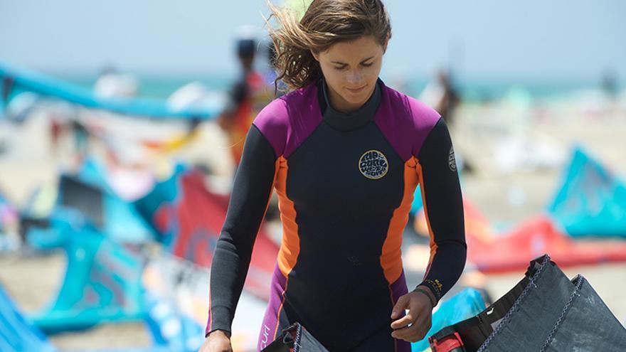 Gisela Pulido durante el campeonato de Fuerteventura